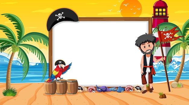해변 일몰 장면에서 해적 아이들과 함께 빈 배너 템플릿