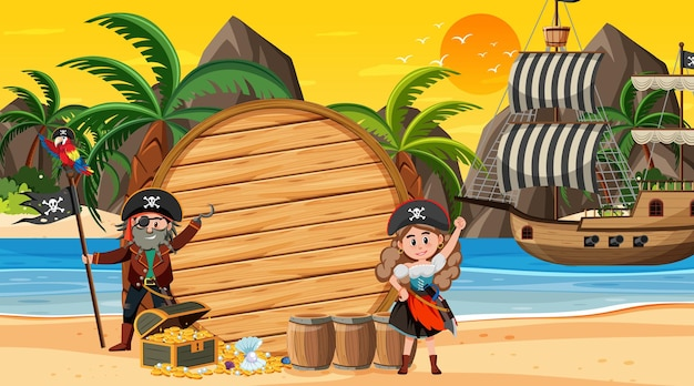 Empty banner template with pirate kids at the beach sunset scene