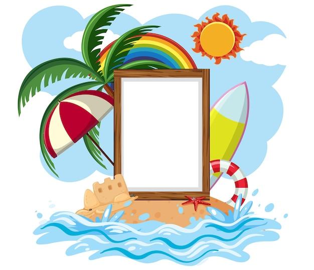 Пустой шаблон баннера с изолированным элементом летнего пляжа
