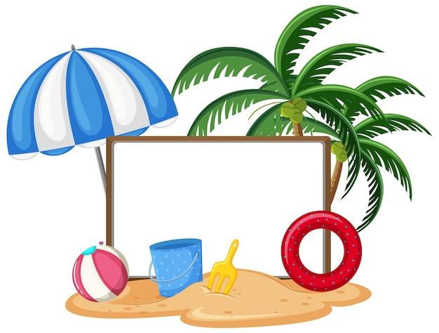 分離された夏のビーチ要素を持つ空のバナーテンプレート