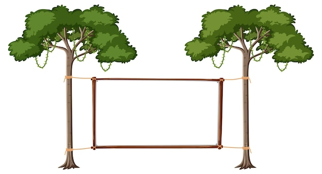 Empty banner with big trees on white background