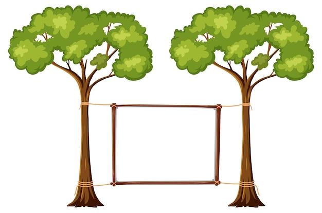 Banner vuoto con grandi alberi su sfondo bianco