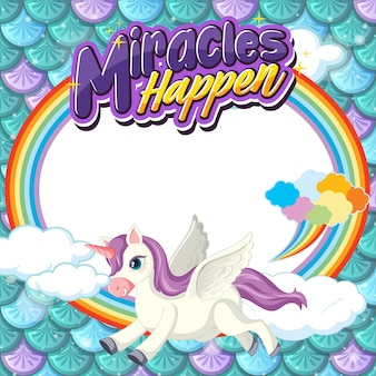 Empty banner with cute pegasus cartoon character on pastel mermaid scales