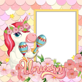 Empty banner with cute unicorn cartoon character on pastel mermaid scales