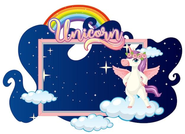 Banner vuoto con simpatico personaggio dei cartoni animati di unicorno su sfondo bianco