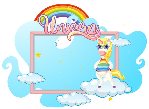 Empty banner with cute unicorn cartoon character on white