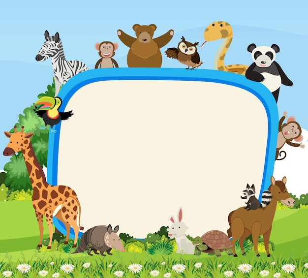 귀여운 다양한 야생 동물이 있는 빈 배너