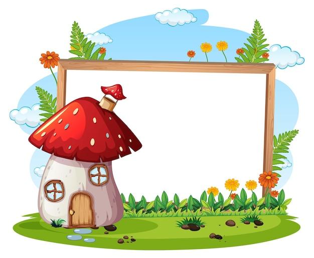 Empty banner with fantasy mushroom house