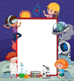 Пустой баннер с детьми в технологической теме