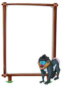 Empty banner with mandrill on white