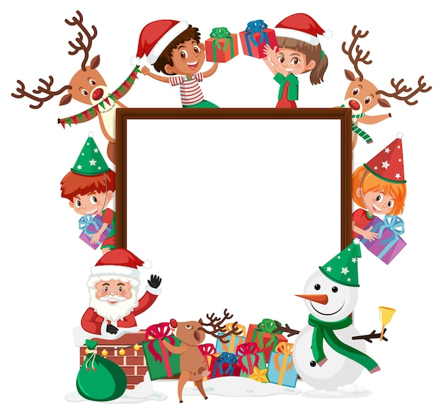 Empty banner with many kids in christmas theme