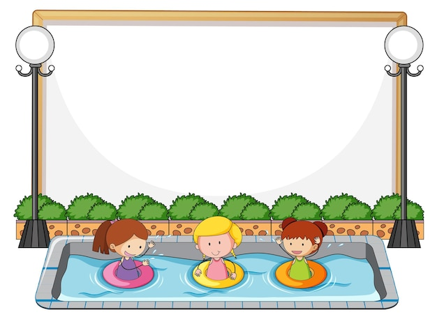 プールに多くの子供たちと空のバナー