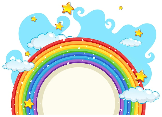 Empty banner with rainbow frame on white background