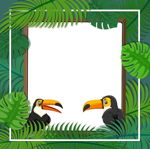 Пустой баннер с рамкой из тропических листьев и мультипликационным персонажем тукан