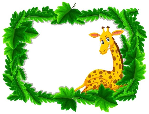 Empty banner with tropical leaves frame and giraffe cartoon character