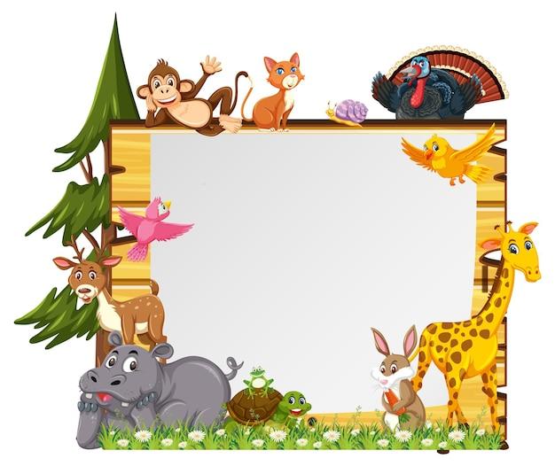다양한 야생 동물이 있는 빈 배너