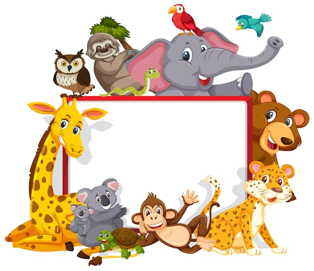 Empty banner with various wild animals