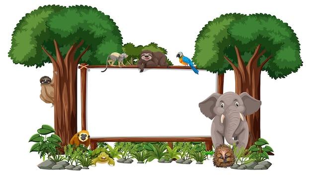 白い背景の上の野生動物と熱帯雨林の木と空のバナー