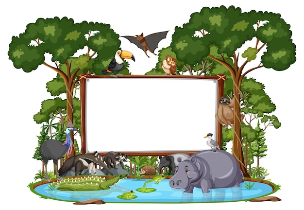 Empty banner with wild animals and rainforest trees on white