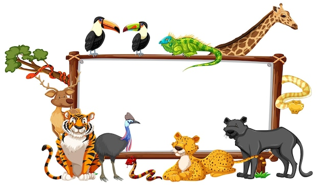 Empty banner with wild animals