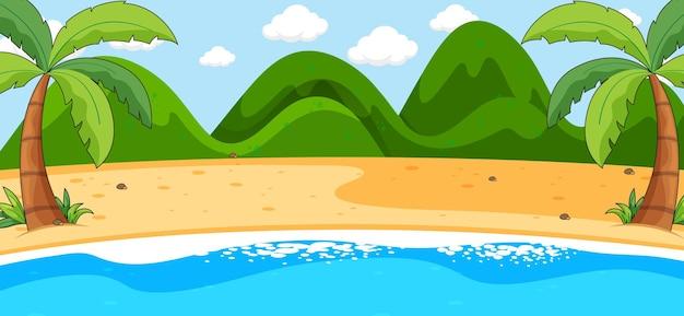 山のある空のビーチの風景シーン