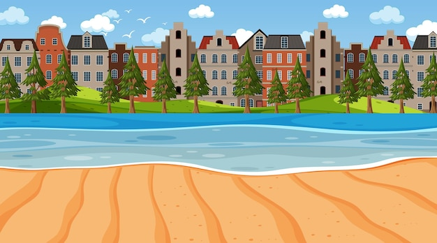 Empty beach scene with many buildings background