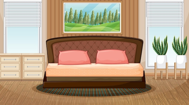 Empty bedroom scene with bedroom objects and interior decoration