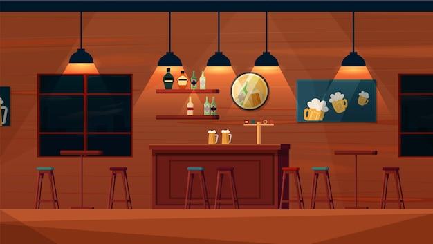 Пустой пивной бар мультфильм вектор интерьер. барная стойка, полки с бутылками алкоголя, столы и стулья, плакаты на стене.