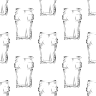 Empty beer glass seamless pattern. beer mug.
