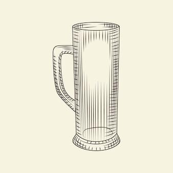 明るい背景で隔離の手描きスタイルの空のビールジョッキ。ビールのガラスベクトルヴィンテージイラスト。彫刻スタイル。メニュー、カード、ポスター、版画、パッケージングに。