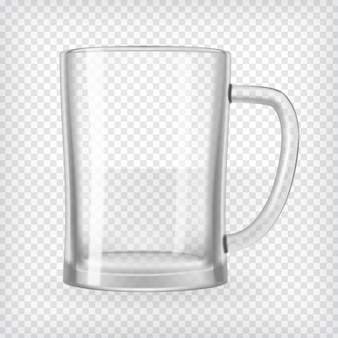 Empty beer mug. realistic transparent vector illustration.