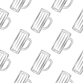 Empty beer mug seamless pattern. beer glasses.