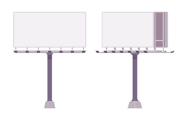 Пустой рекламный щит для показа рекламы. белые панели городских счетов для размещения информации рядом с шоссе. ландшафтная архитектура и городская концепция. иллюстрации шаржа стиля