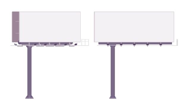 Пустой рекламный щит для показа рекламы. белые панели городских счетов для размещения информации рядом с шоссе. ландшафтная архитектура и концепция городского дизайна. иллюстрации шаржа стиля