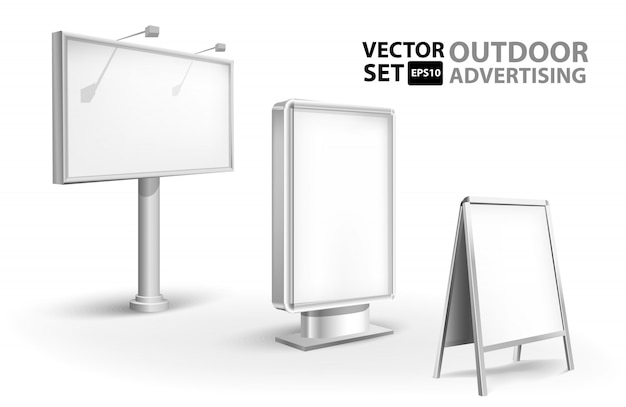 Empty billbord, stander and lightboxes isolated on white background. set of tamplates illustration.