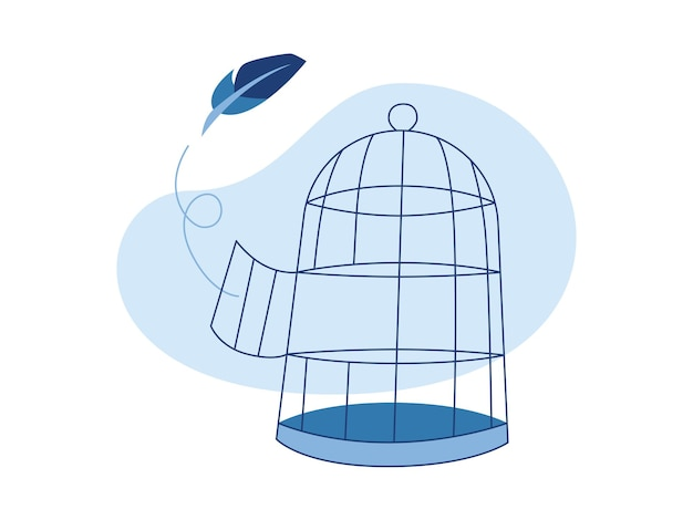 Empty bird cage and a feather