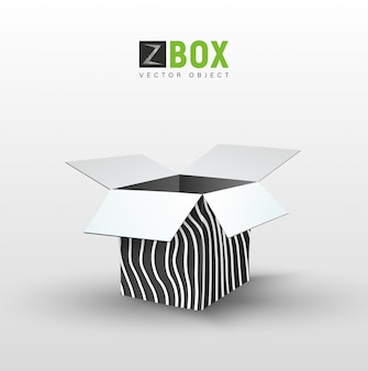 Empty black box with wild wavy pattern