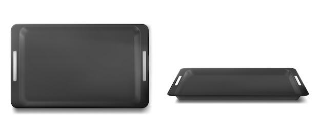 Пустой черный поднос для еды на обед в ресторане или столовой