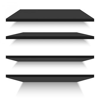Пустые черные полки, изолированные против стены. векторная иллюстрация