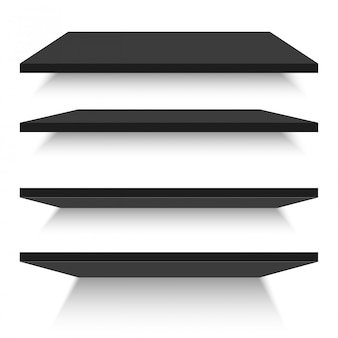 Empty black shelves isolated against a wall. vector illustration.