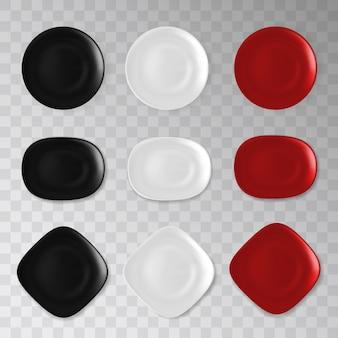 빈 검정, 흰색 및 빨강 접시 컬렉션
