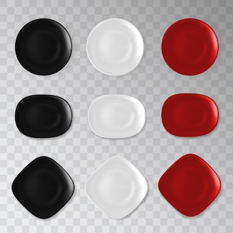 Empty black, white and red plate collection