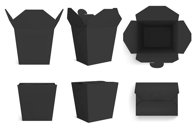 Scatola wok nera vuota, imballaggi di carta per cibo cinese, noodle o riso con pollo. realistico di scatole da asporto chiuse e aperte nella vista anteriore e superiore isolata su sfondo bianco