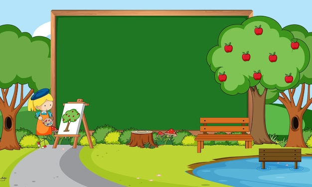 Empty blackboard in nature scene with an artist girl drawing in the park