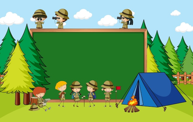 Empty blackboard in nature scene with many kids in scout theme