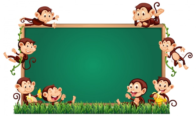 Empty blackboard template with cute monkeys on grass