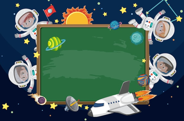 宇宙飛行士の子供たちの漫画のキャラクターと空の黒板