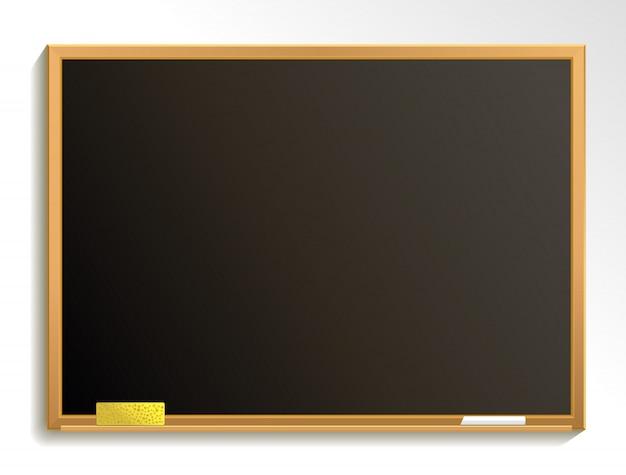 チョークとスポンジで空の黒板。黒板の背景。図