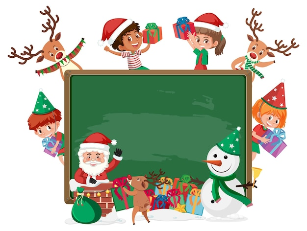 Empty blackboard with kids in christmas theme