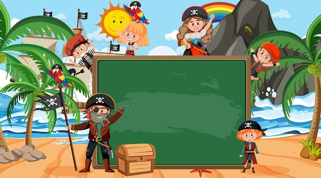 Empty blackboard with many pirate kids cartoon character at the beach
